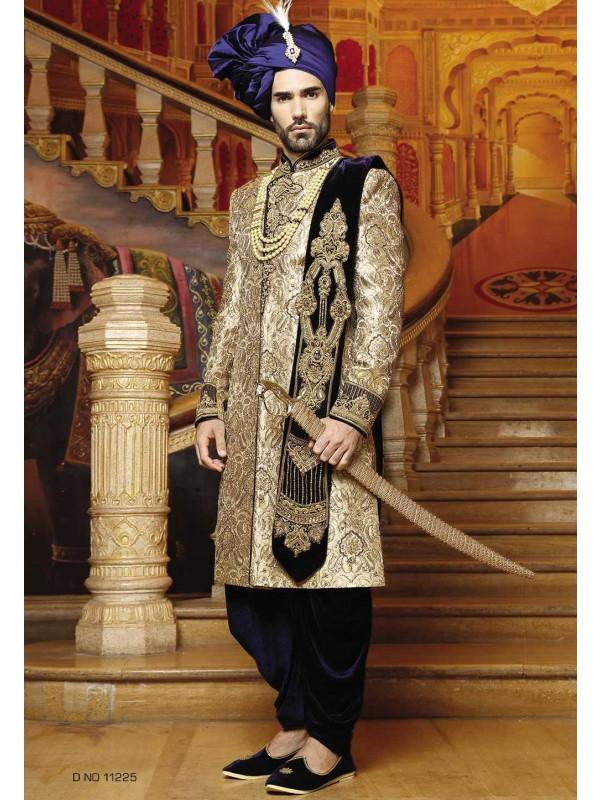 Blue,Golden Color Indian Designer Sherwani.