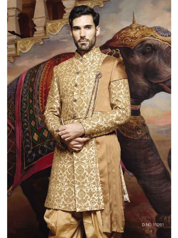 Golden Color Silk Sherwani.