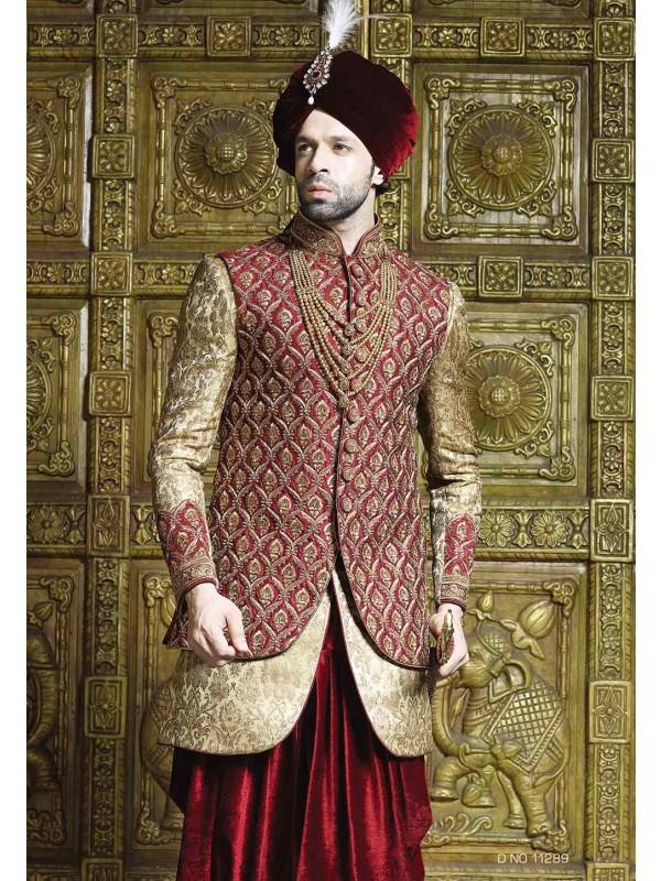 Maroon,Golden Color Indowestern Sherwani.