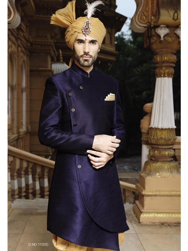 Blue Color Silk Sherwani.