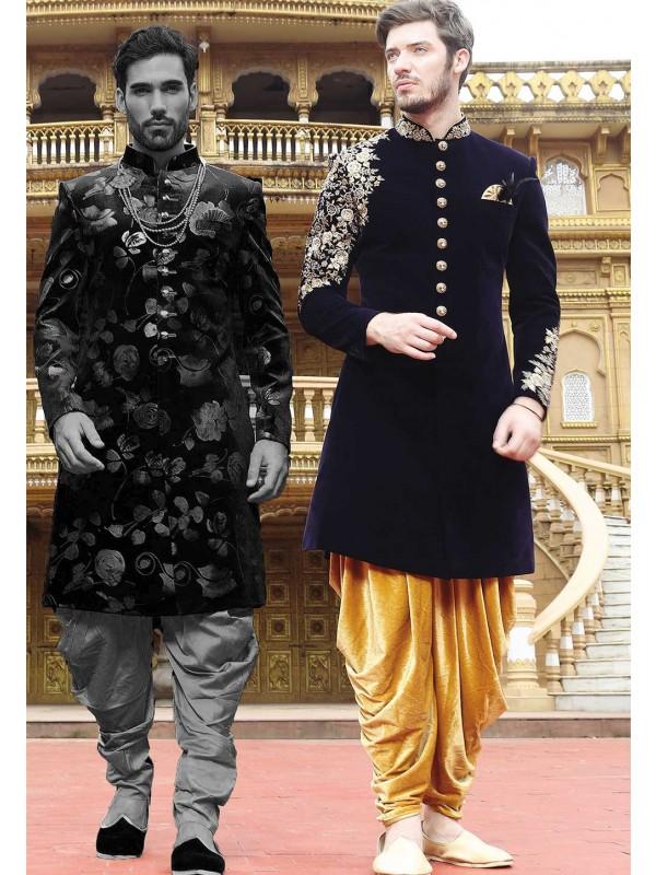 Blue Color Indo Sherwani.