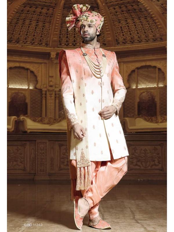 Cream,Peach Color Designer Sherwani.