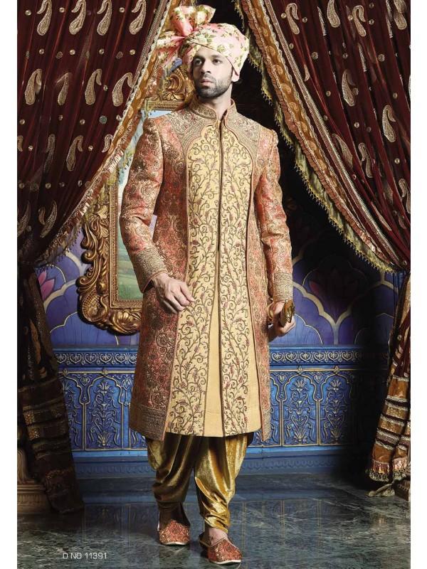 Pink,Golden Color Wedding Sherwani.