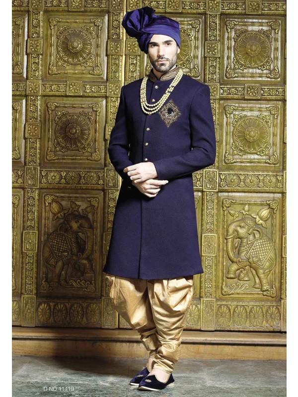 Blue Color Sherwani For Men's