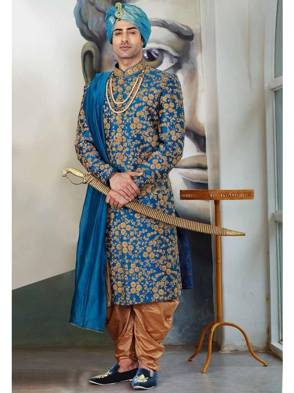 Blue Colour Designer Sherwani.
