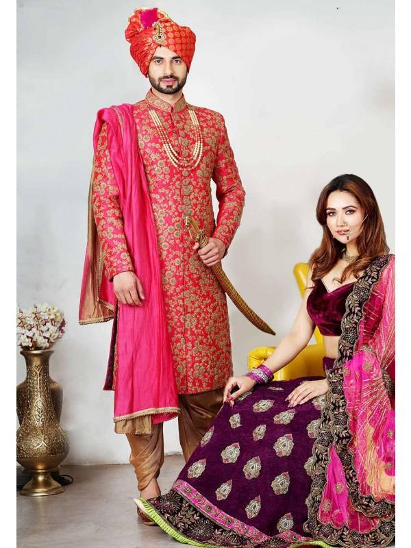 Red Colour Indian Wedding Sherwani.