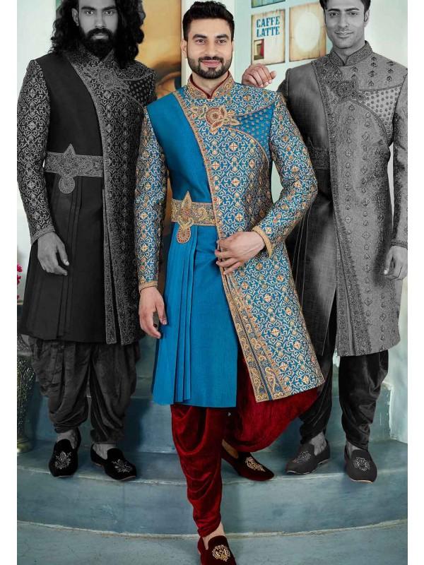 Turquoise Colour Men's Sherwani.