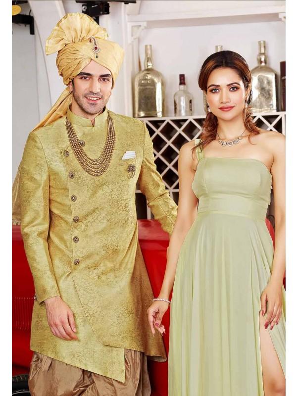 Golden Colour Party Wear Indowestern.