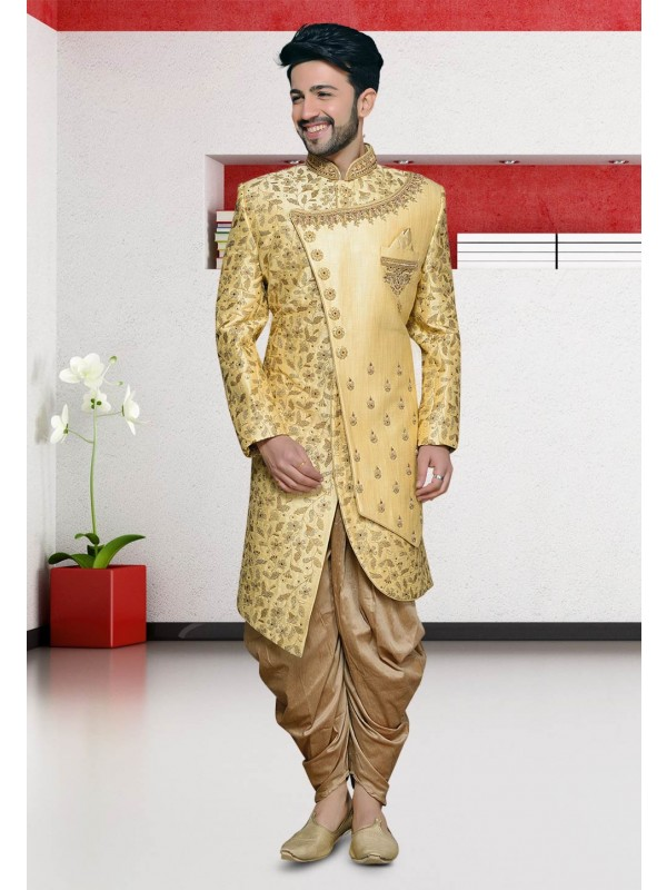 Golden Colour Men's Designer Indowestern.