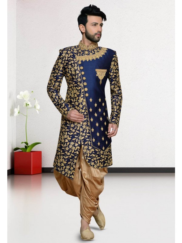 Blue Colour Silk Party Wear Indowestern.