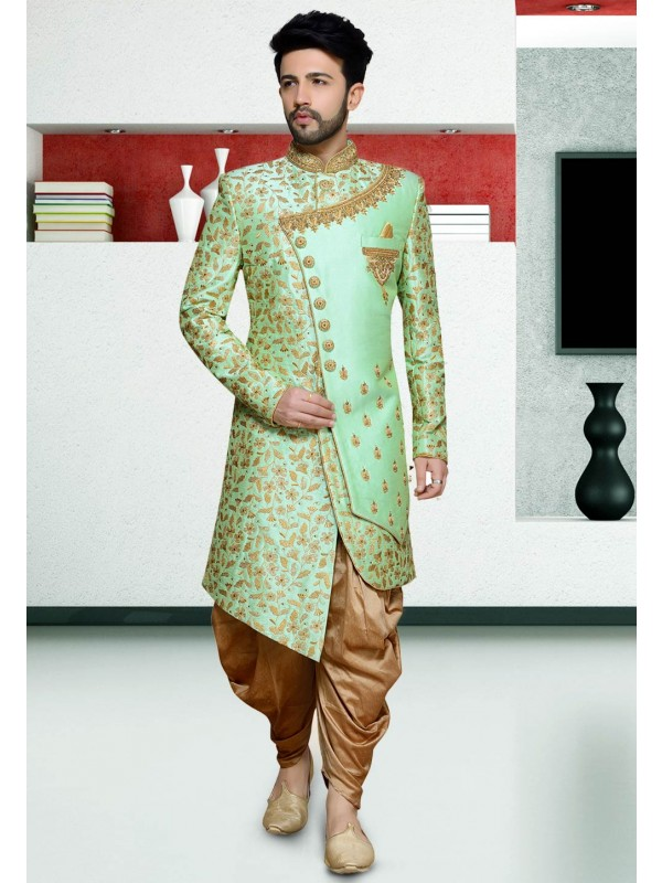 Exclusive Designer Indo Sherwani Green Colour.