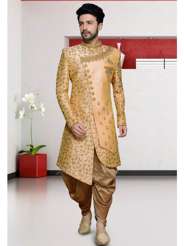 Peach Colour Silk Designer Indo Sherwani.
