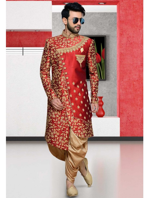 Red,Maroon Colour Designer Indowestern.