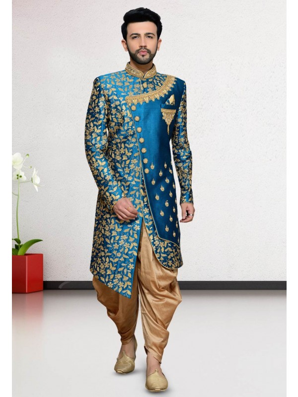Turquoise Colour Men's Indo Sherwani.