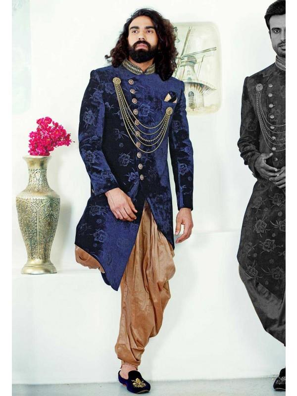 Blue Colour Velvet Indowestern.