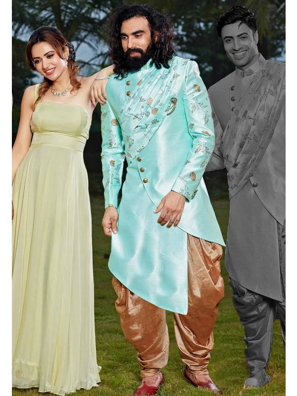 Turquoise Colour Silk Indowestern.