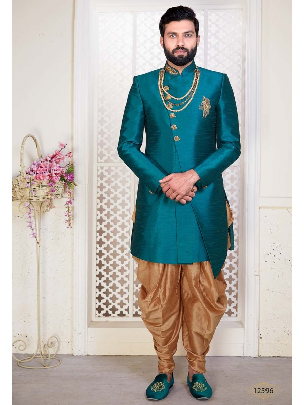 Green Colour Men's Designer Indowestern.