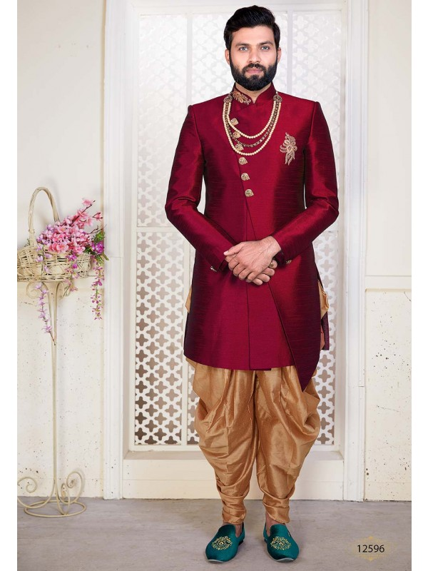 Exclusive Designer Men's Indowestern Maroon Colour.
