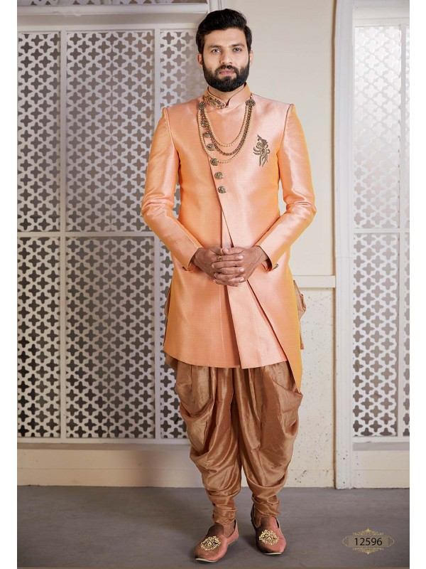 Peach Colour Men's Designer Indowestern.