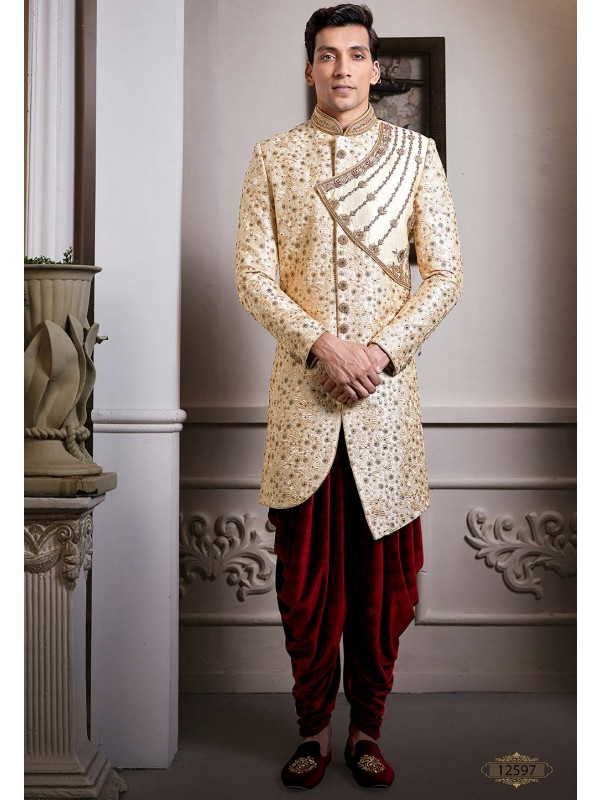Cream,Golden Colour Designer Indo Sherwani.