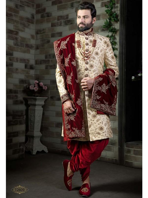 Cream Colour Wedding Sherwani.