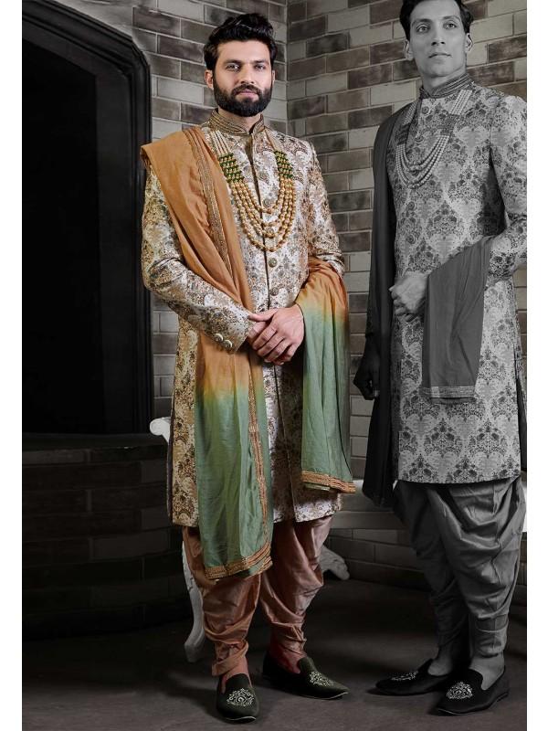 Cream,Golden Colour Designer Sherwani For Groom.