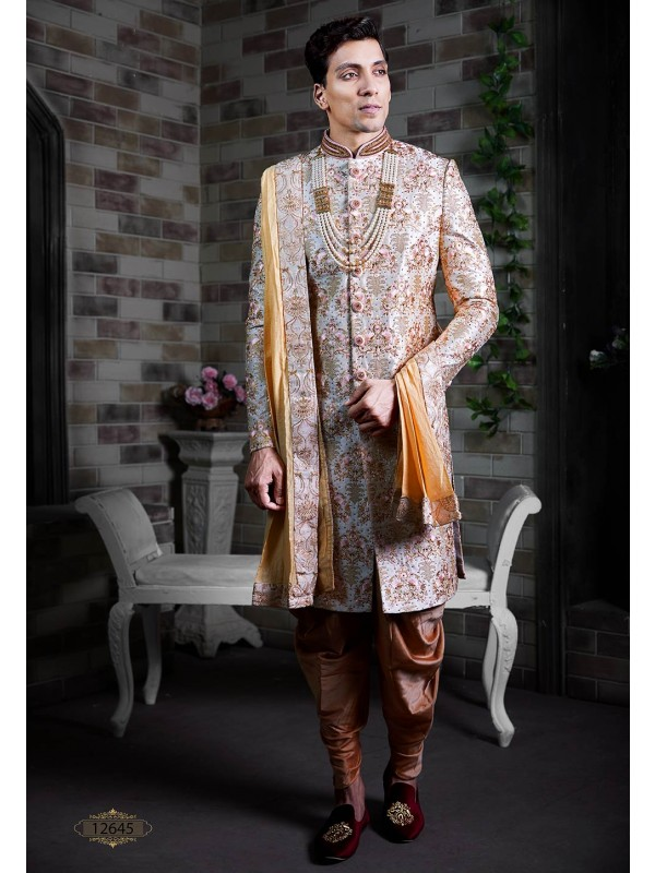 Cream Colour Silk Men's Sherwani.