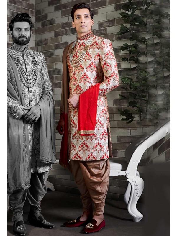 Golden Colour Silk Men's Sherwani.