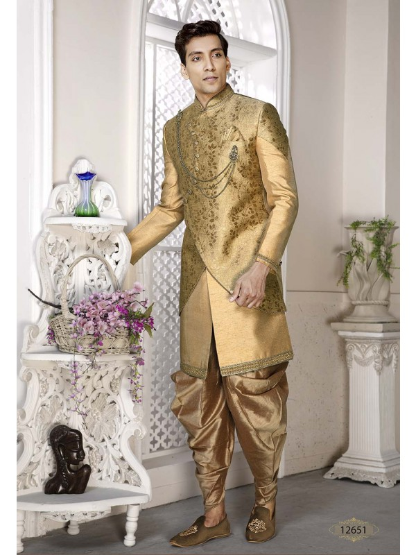 Golden Colour Silk Engagement Dresses.