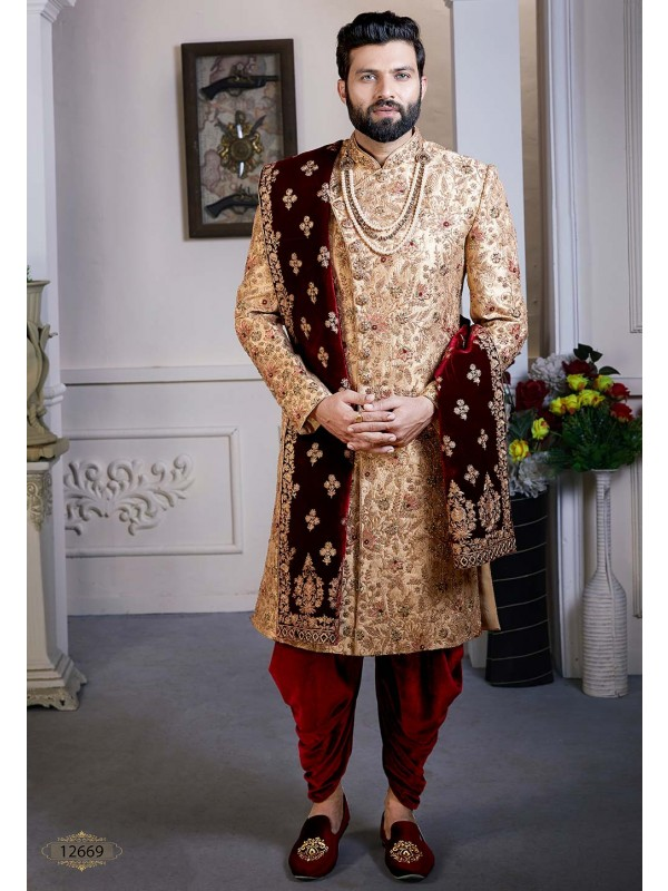 Golden Colour Indian Groom Sherwani.