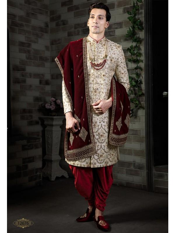 Exclusive Golden Colour Indian Designer Sherwani.