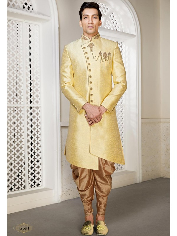 Golden Colour Brocade Fabric Men's Indowestern.