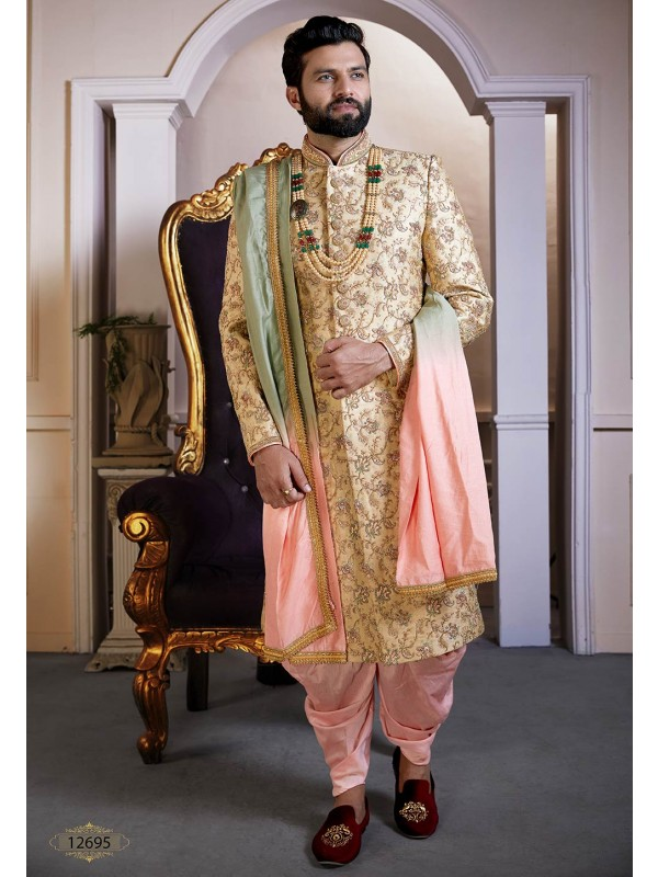 Golden Colour Silk Indian Men's Sherwani.