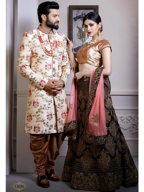 Cream Colour Silk Designer Indo Sherwani.