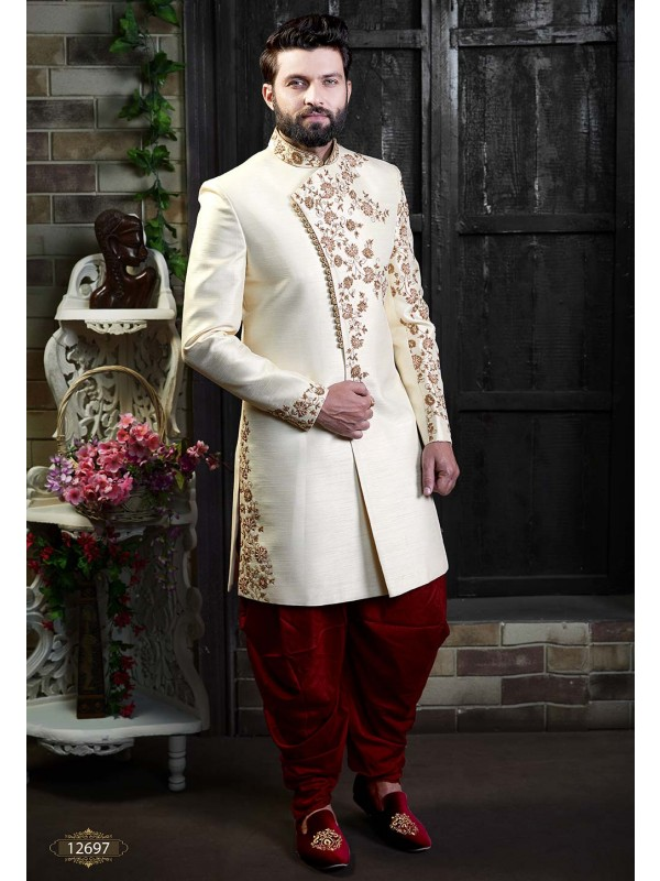 Fabulous Designer Men's Indowestern Cream Colour.
