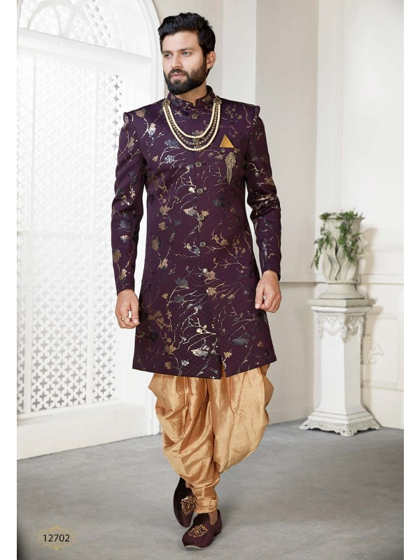 Wine Colour Party Wear Men's Indowestern.