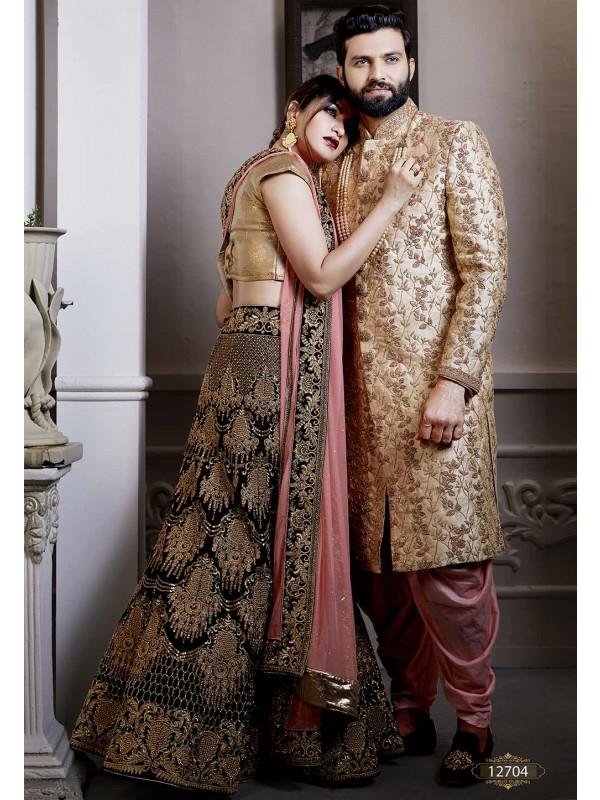 Golden Colour Jacquard Fabric Indian Wedding  Attire For Groom.