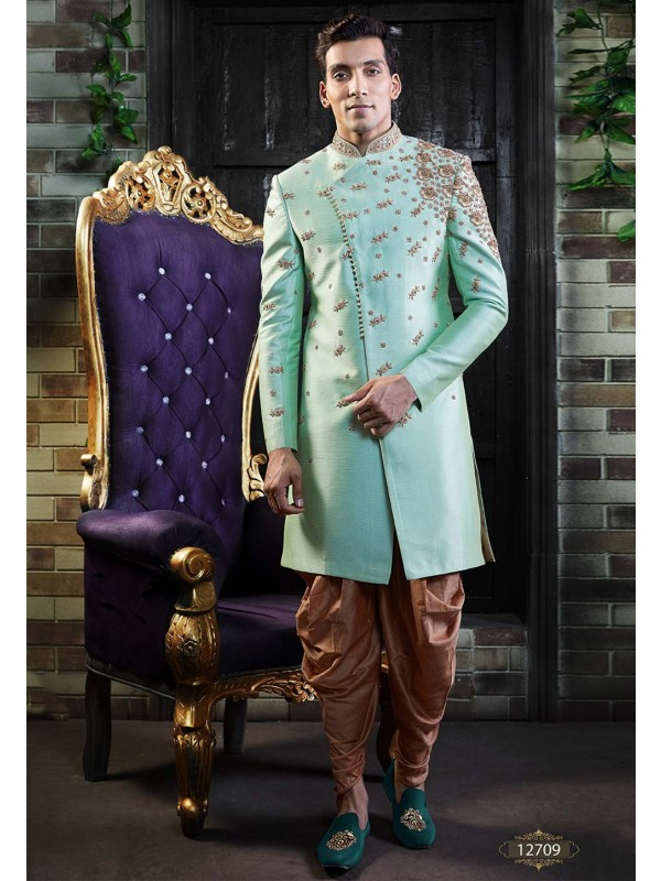 Turquoise Colour Men's Indowestern.