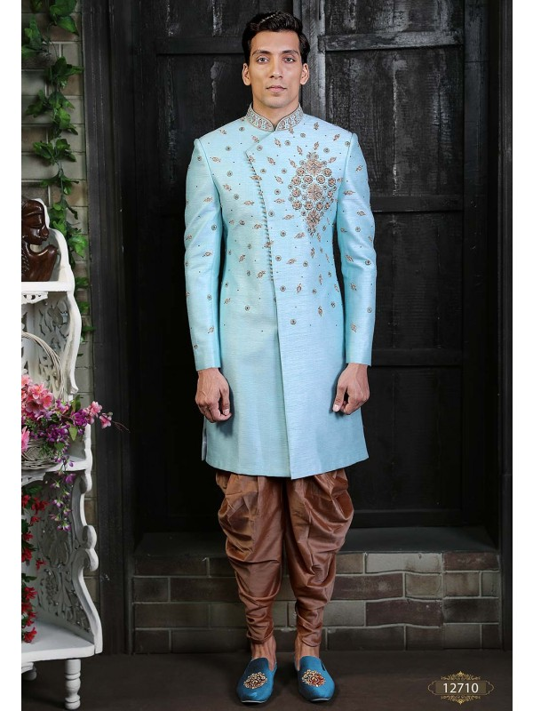 Silk Men's Indowestern Sky Blue Colour.