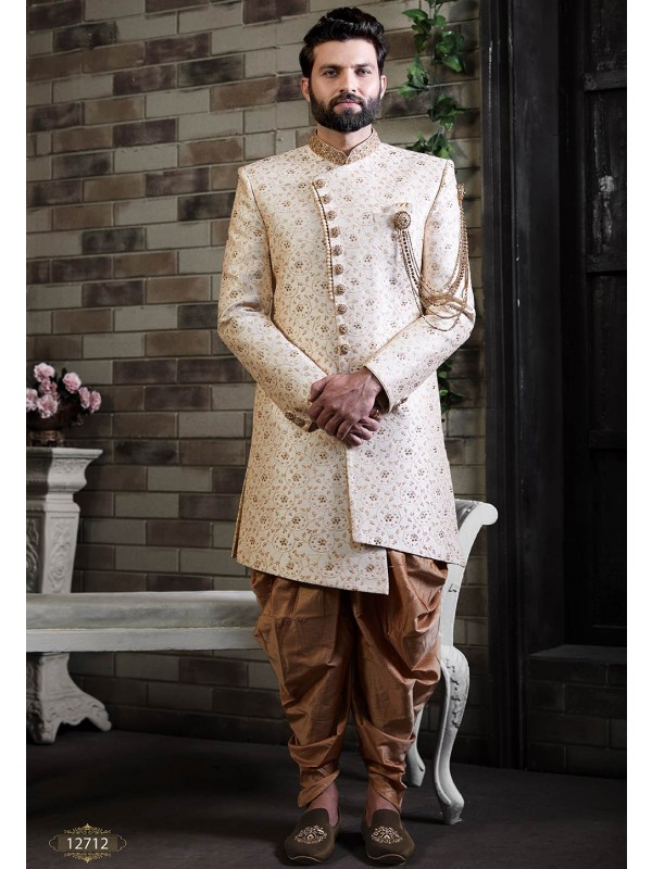 Cream Colour Silk Indian Designer Indowestern.