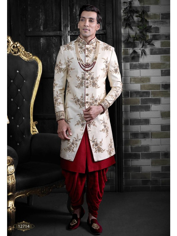 Men's Indowestern Sherwani Cream Colour Silk Fabric.