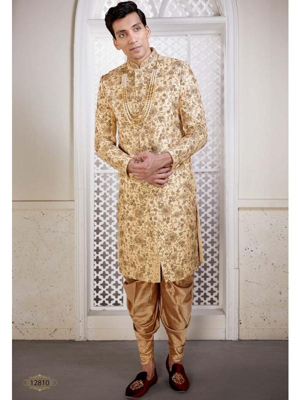 Brocade Fabric Indian Designer Sherwani Golden Colour.
