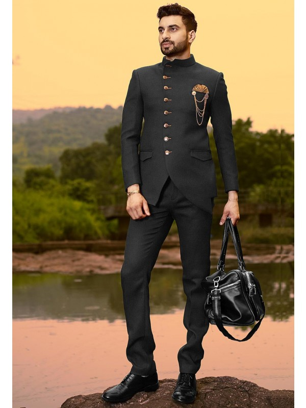Black Colour Men's Designer Jodhpuri Suit.