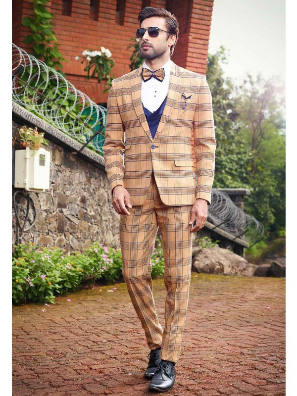 Brown,Beige Colour Designer Tuxedo Suit.