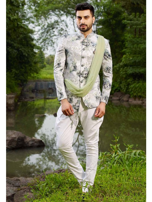 Off White Colour Party Wear Jodhpuri Suit.