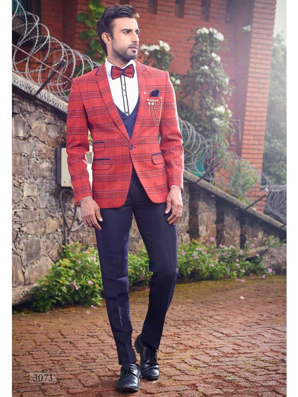 Blue,Red Colour Designer Wedding Suit.