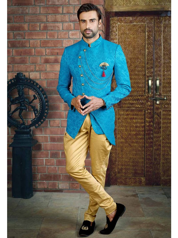 Turquoise Colour Indian Jodhpuri Suit.