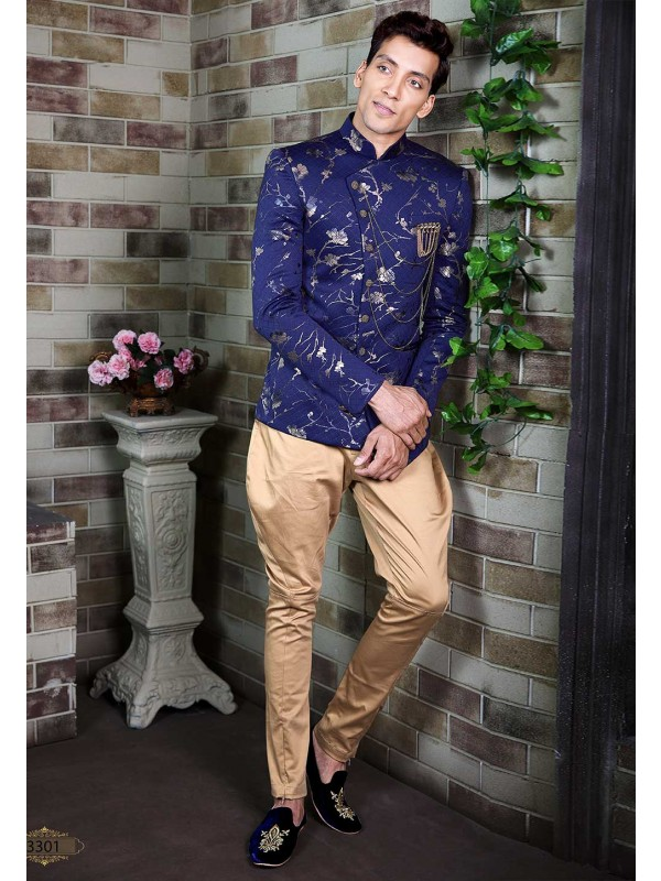 Blue Printed Party Wear Jodhpuri Suit.