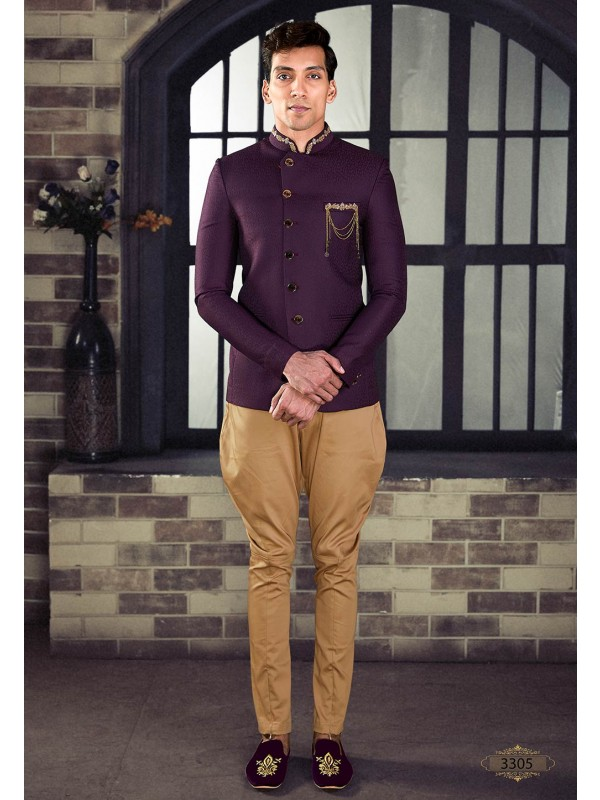 Wine Colour 100% Imported Fabric Designer Jodhpuri Suit.