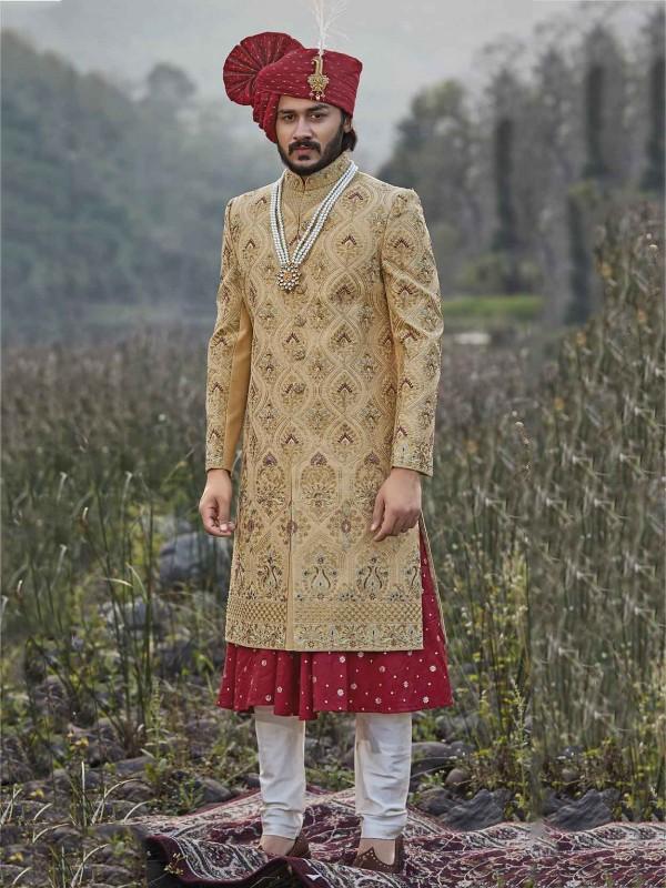 Golden,Maroon Colour Silk Wedding Sherwani.
